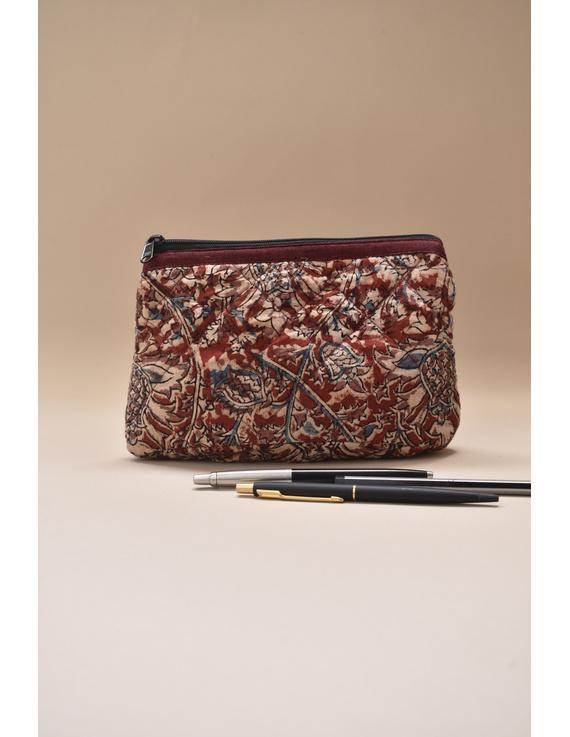 Red kalamkari pencil pouch : PPK03-1