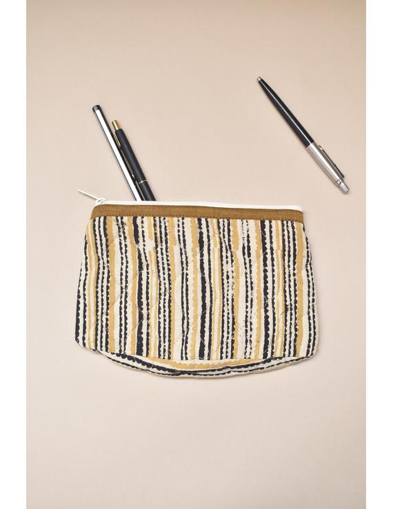 Mustard stripe kalamkari pouch : PPK04-PPK04
