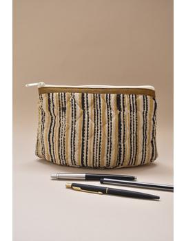 Mustard stripe kalamkari pouch : PPK04-1-sm