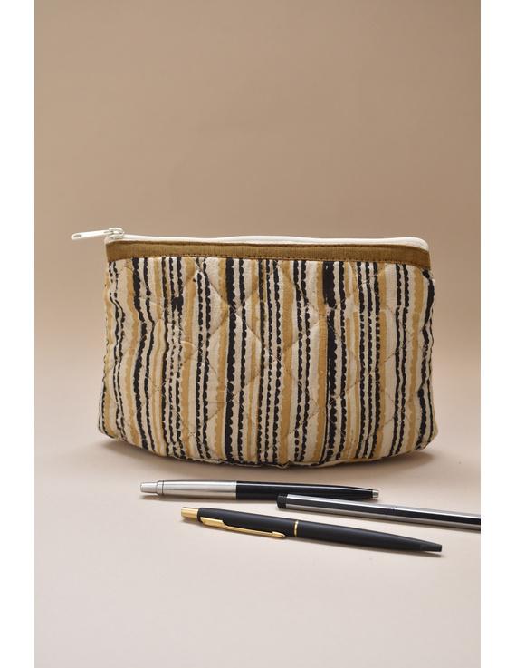 Mustard stripe kalamkari pouch : PPK04-1