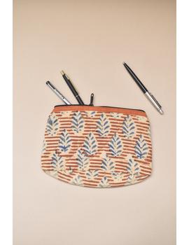 Orange kalamkari pencil pouch : PPK05-PPK05-sm
