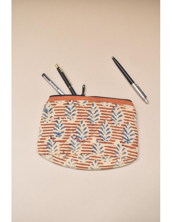 Orange kalamkari pencil pouch : PPK05-PPK05
