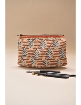 Orange kalamkari pencil pouch : PPK05-1-sm
