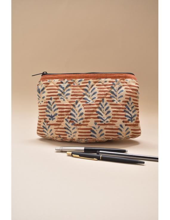 Orange kalamkari pencil pouch : PPK05-1