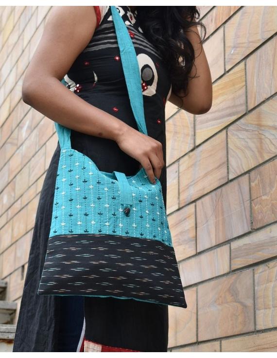 CYAN BLUE IKAT SLING BAG WITH EMBROIDERY: SBG02-SBG02
