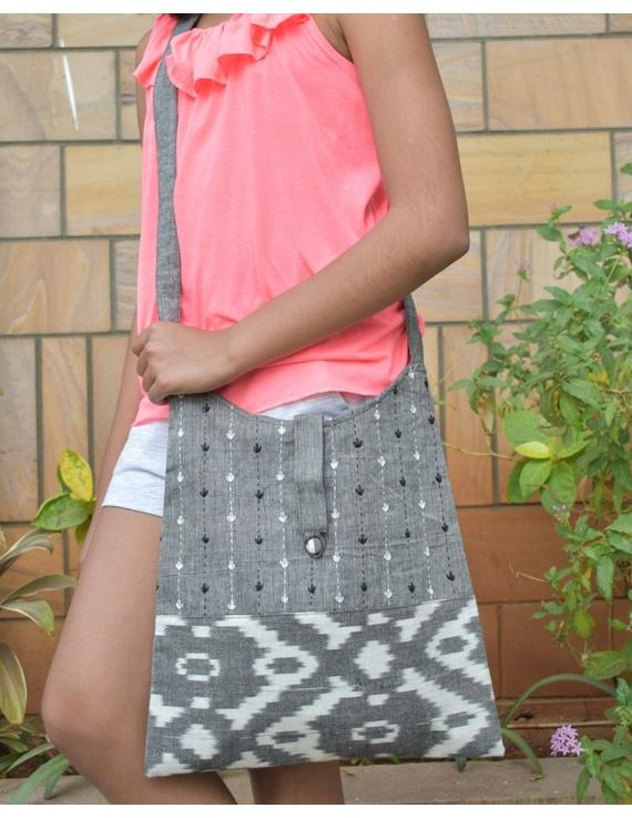 Grey ikat sling bag with embroidery : SBG03-SBG03