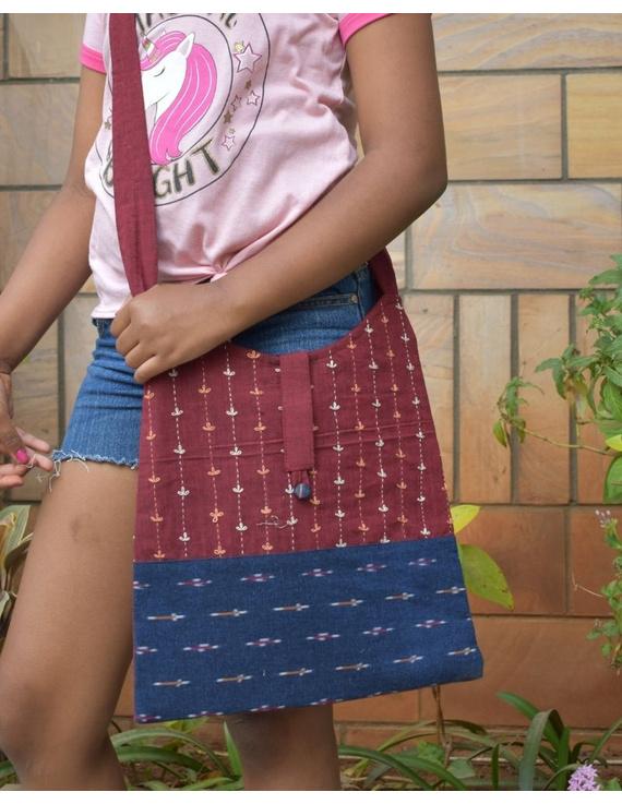 Maroon ikat sling bag with embroidery : SBG04-SBG04
