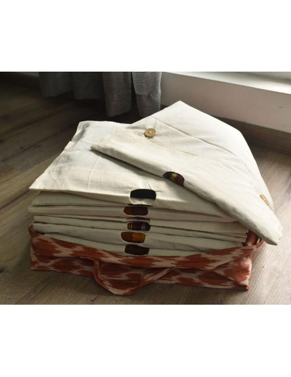 Saree storage bag in ikat cotton with set of ten saree sleeves : MSK01-2