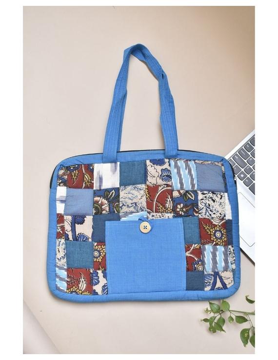 Patchwork quilted laptop bag - blue : LBP01-LBP01