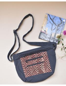 Multi pocket canvas purse in brown kalamkari fabric : SBC01-2-sm