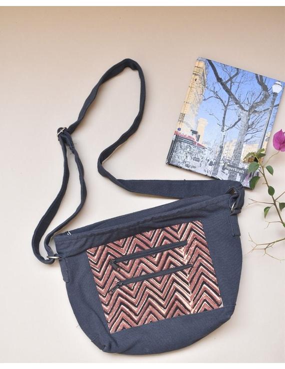 Multi pocket canvas purse in brown kalamkari fabric : SBC01-2