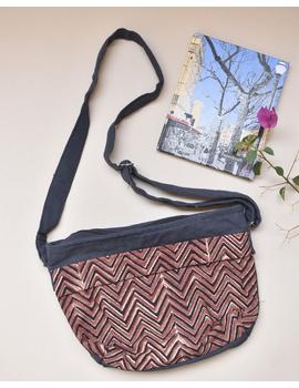 Multi pocket canvas purse in brown kalamkari fabric : SBC01-1-sm