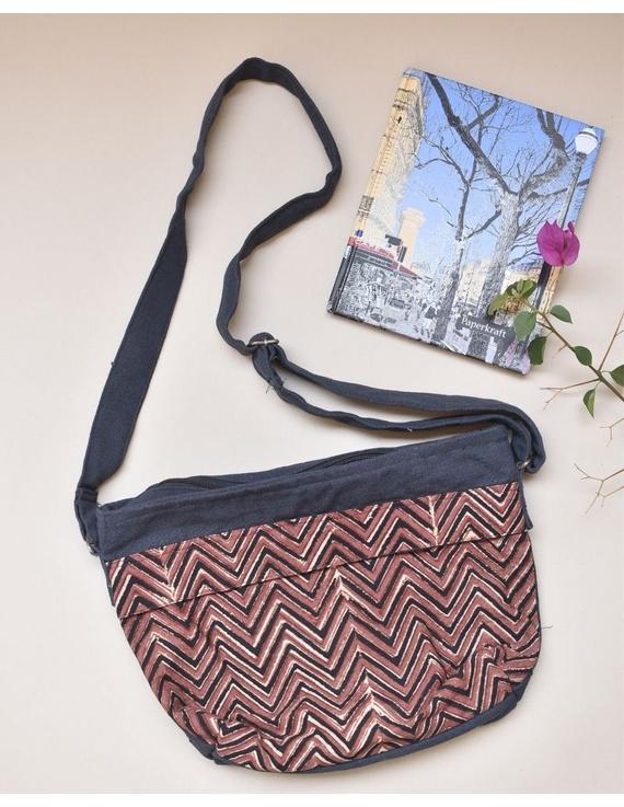 Multi pocket canvas purse in brown kalamkari fabric : SBC01-1