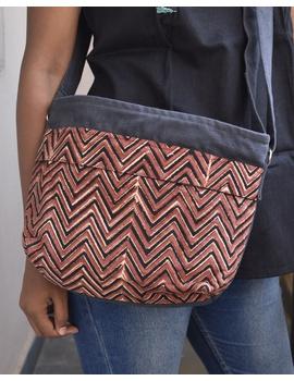 Multi pocket canvas purse in brown kalamkari fabric : SBC01-SBC01-sm