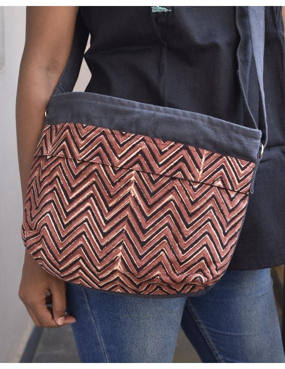 Multi pocket canvas purse in brown kalamkari fabric : SBC01-SBC01