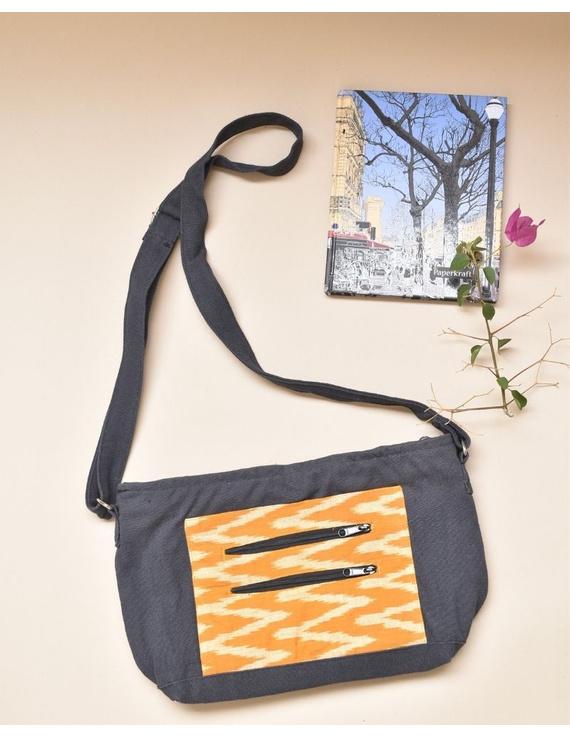 Multi pocket canvas purse with mustard ikat fabric : SBC02-1
