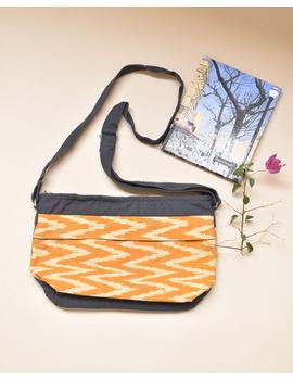 Multi pocket canvas purse with mustard ikat fabric : SBC02-2-sm