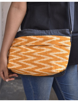 Multi pocket canvas purse with mustard ikat fabric : SBC02-SBC02-sm