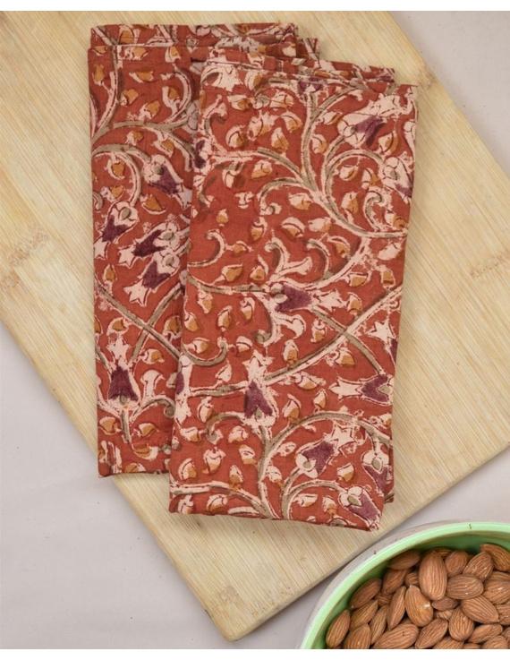 "Orange Printed cotton kalamkari table napkins 16"" x 16"" - set of six: HTN09-HTN09"