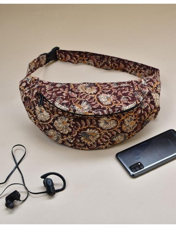 Fanny bag or waist bag in brown kalamkari: VKF01A-1