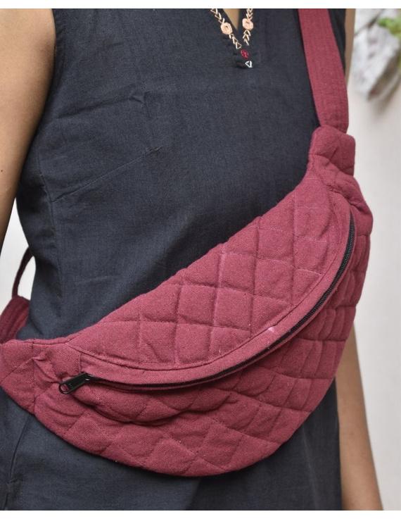 Fanny bag or waist bag in maroon cotton: VKF01C-VKF01C