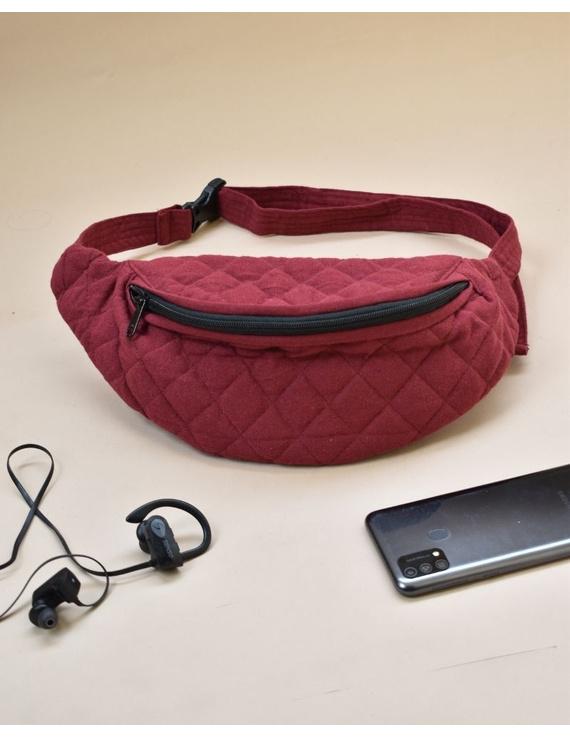 Fanny bag or waist bag in maroon cotton: VKF01C-1