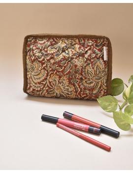Rust kalamkari jewellery case with 4 zip pockets : VKJ03-VKJ03-sm