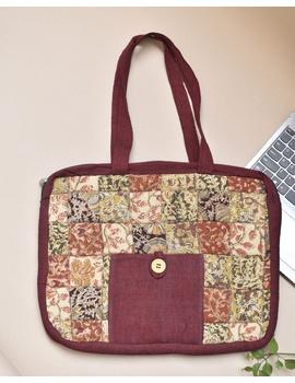 Patchwork quilted laptop bag - maroon : LBP02-LBP02-sm
