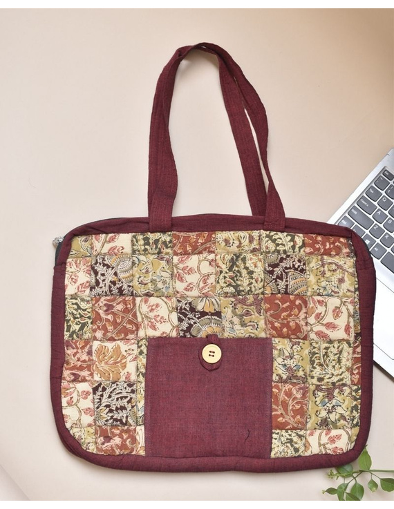 Patchwork quilted laptop bag - maroon : LBP02-LBP02