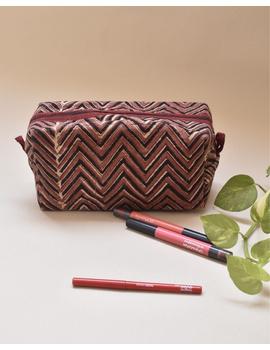 Brown chevron travel pouch : VKP03-VKP03-sm