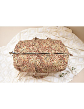 Overnight duffel bag in rust kalamkari : VBS02-1-sm