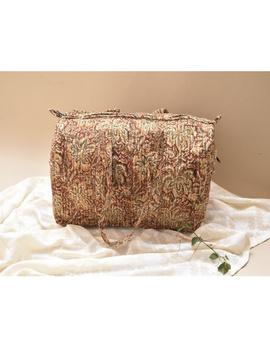 Overnight duffel bag in rust kalamkari : VBS02-VBS02-sm