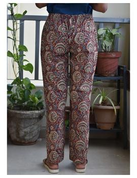 Narrow Fit Pants in Red  Kalamkari Cotton: EP03A-L-1-sm