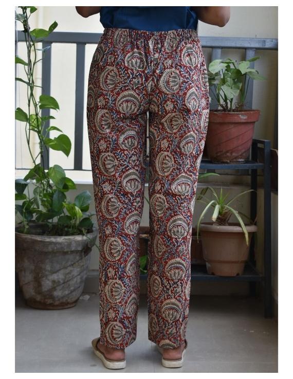 Narrow Fit Pants in Red  Kalamkari Cotton: EP03A-L-1