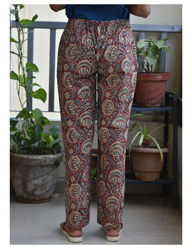 Narrow Fit Pants in Red  Kalamkari Cotton: EP03A-M-1-sm