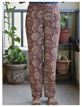 Narrow Fit Pants in Red  Kalamkari Cotton: EP03A-EP03A-S-sm