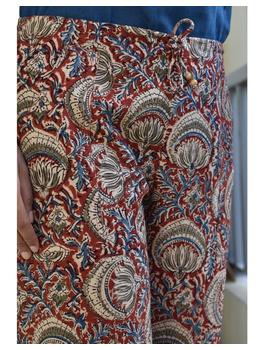 Narrow Fit Pants in Red  Kalamkari Cotton: EP03A-XL-2-sm