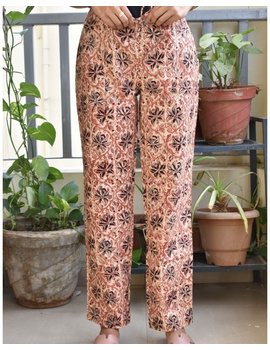 Narrow Fit Pants in Beige  Kalamkari Cotton: EP03B-L-1-sm