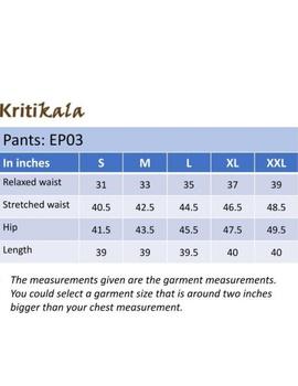 Narrow Fit Pants in Beige  Kalamkari Cotton: EP03B-L-4-sm