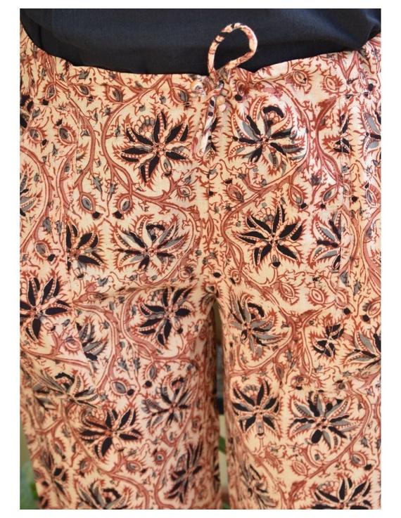 Narrow Fit Pants in Beige  Kalamkari Cotton: EP03B-M-3