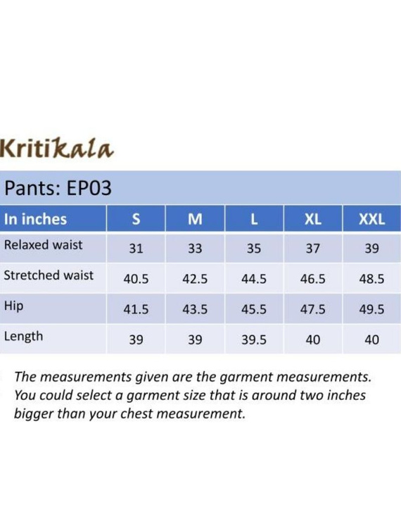 Narrow Fit Pants in Beige  Kalamkari Cotton: EP03B-M-4