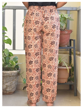Narrow Fit Pants in Beige  Kalamkari Cotton: EP03B-S-2-sm