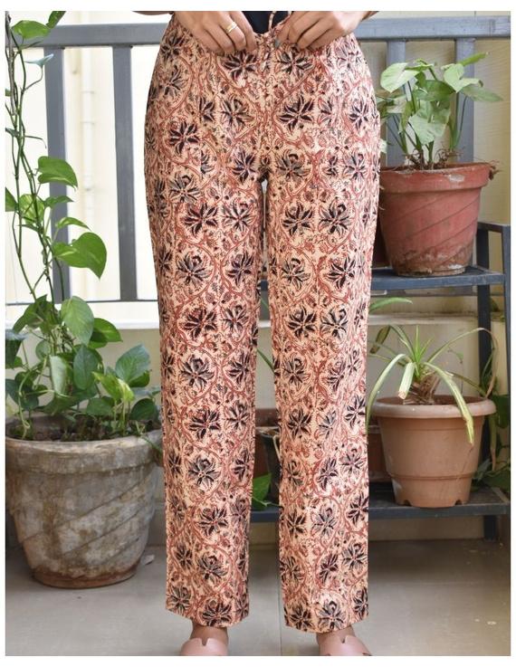 Narrow Fit Pants in Beige  Kalamkari Cotton: EP03B-XL-1