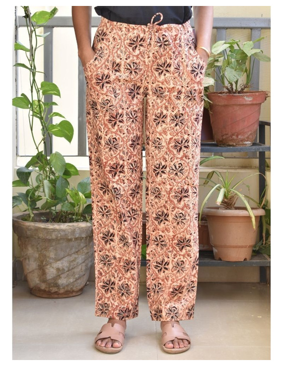 Narrow Fit Pants in Beige  Kalamkari Cotton: EP03B-EP03B-XXL