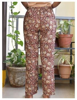 Narrow Fit Pants in Brown Kalamkari Cotton: EP03C-M-1-sm