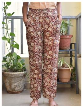Narrow Fit Pants in Brown Kalamkari Cotton: EP03C-EP03C-S-sm