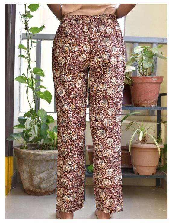 Narrow Fit Pants in Brown Kalamkari Cotton: EP03C-XL-1