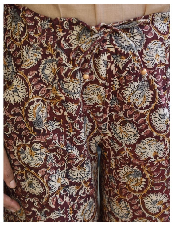 Narrow Fit Pants in Brown Kalamkari Cotton: EP03C-XL-2