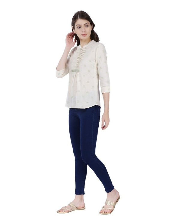 OFF WHITE SHORT TOP IN DOUBLE IKAT COTTON : LB140C-S-1