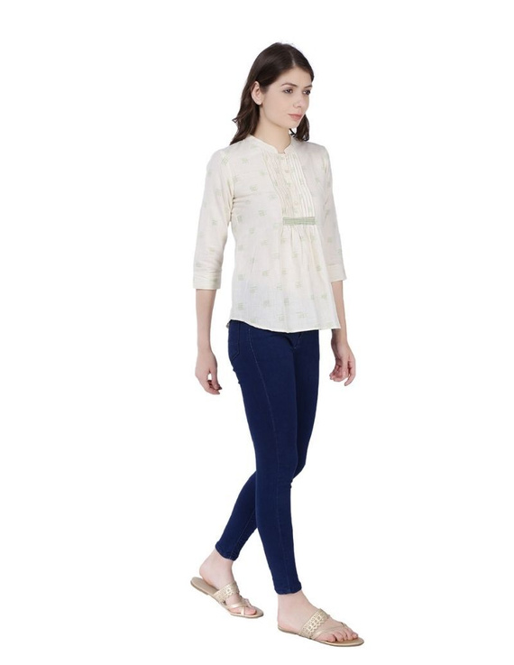 OFF WHITE SHORT TOP IN DOUBLE IKAT COTTON : LB140C-S-2